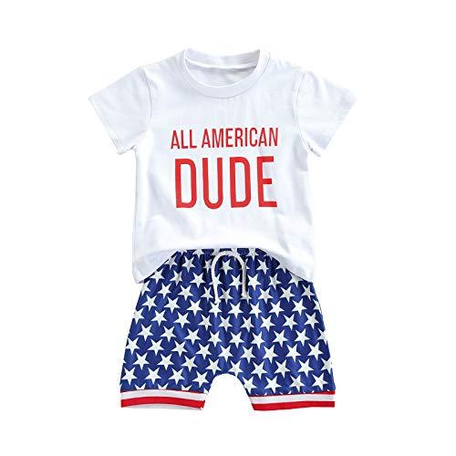 4 de julio - Conjunto de ropa para bebés y niños, manga corta, camiseta con letras de la bandera americana