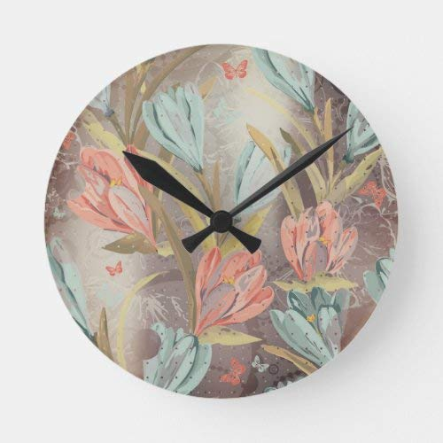 daoyiqi 15 Inch Wall Clock, Coral Brown Floral Coffe Blue Ivory Butterfly Round Clock, Silent Non Ticking Quality Quartz Wood Clock for Bedroom, Living Room Home Decor