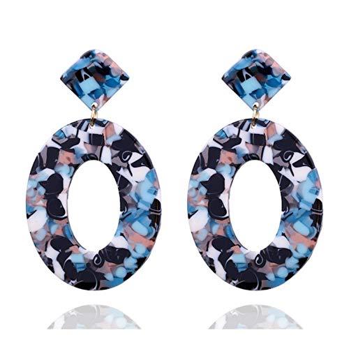 Ear Bohemio Hot Elíptica/Plaza Acrílico Pendientes Pendientes de Moda Vintage Pendientes de Trend Pendientes para Mujeres TINGG (Color : 9)