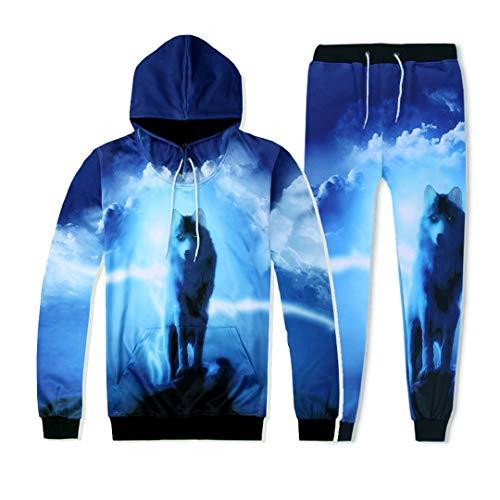 Otoño Invierno Hombres Mujeres Chándal Conjunto 3D Impresión Azul Lobo Con Capucha Sudadera+Pantalones 2 Piezas Conjunto Sudadera Con Capucha