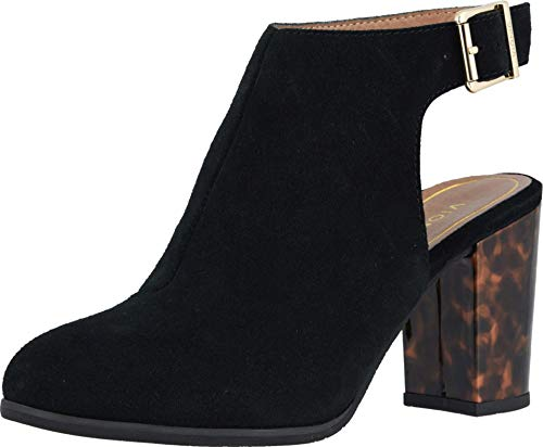 Vionic Women's Perk Lacey Ankle Strap Bootie - Ladies Boots with Concealed Orthotic Arch Support Black Suede Tortoise 10 W US