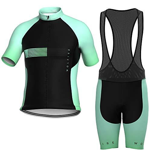 WOLFIRE WF Herren-Radsportanzug Shorts und Trikot. mit 12D Gel-Pad, gepolsterter Latz, MTB, Spinning-Hose, Rennrad (Aquamarin Race, M)