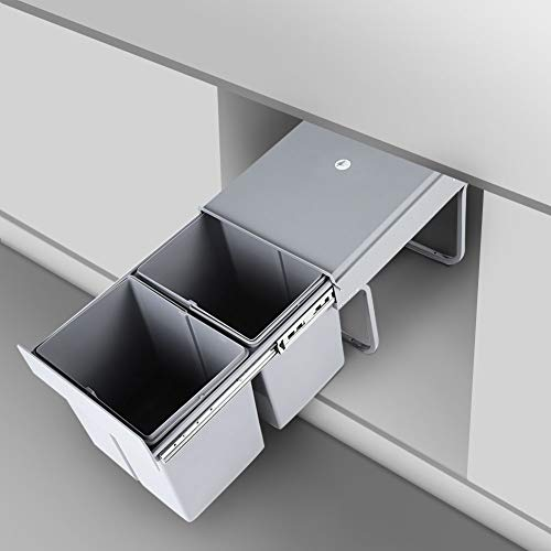 Cubo de basura de cocina, 2 cubos de 15 l, cubo de basura extraíble para cocina, sistema de basura, 48 x 34 x 41,8 cm