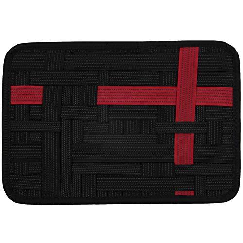 LZVTO バッグインバッグ リュック カバン 整理 収納 小物 a5 インナーバッグ A5サイズ PC周辺 携帯周辺 デジモノアクセサリ固定ツール スマホアクセサリー、ケーブル、マウス、モバイルバッテリー、USB充電器などの小物収納 ノートPC・タブレットケース 旅行 出張用 トラベル用 インナーケース(黒+赤, 21cm*16cm)