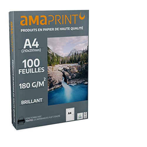 Amaprint 100 feuilles Papier Photo A4 brillant 180g/m² pour Imprimante à jet d'encre - glacé - résistant à l'eau