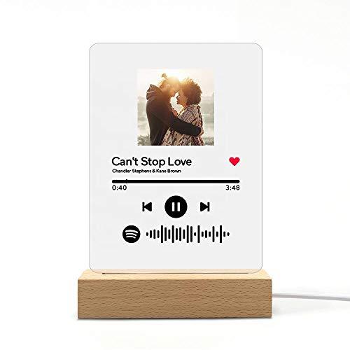 Q&K Placa Spotify Personalizada Luz De Noche,Arte de Vidrio de Spotify Música Placa,Placa de Foto de Código de Spotify Escaneable Personalizada,Regalos para Novio,Novia,Tu Madre. con Base y luz