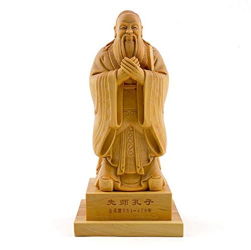SHANGXIAN Buchsbaum Konfuzius Figuren Skulpturen Chinesische historische Berühmtheiten Hauptverzierungen Handwerk Boutique,20CM