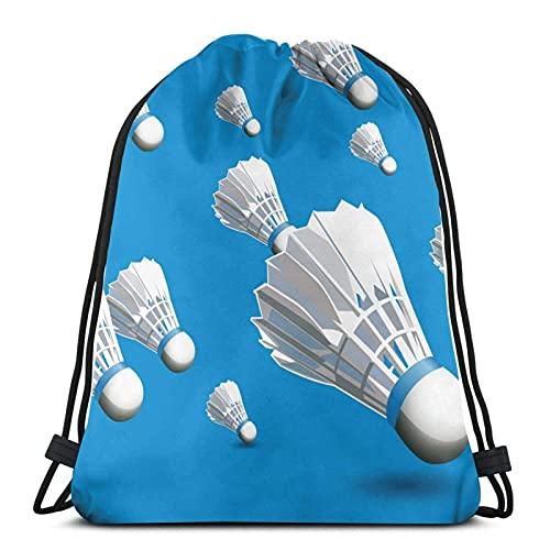 Bingyingne Mochila blanca con cordón de bádminton creativo, bolsa de gimnasio, bolsa de cincha, bolsa de cuerda