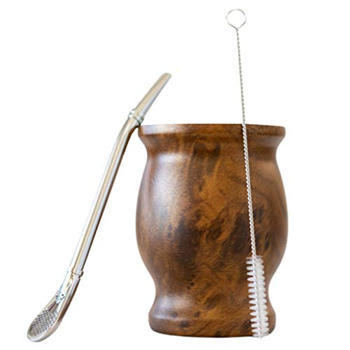 Yerba Mate Cup | 8 Oz Yerba Mate Gourd Cup Wooden Finish Double Walled Stainless Steel Cup with Mate Straw and Cleaning Brush | Yerba Mate Gourd Mate Cup and Bombilla Set Mate Tea Set