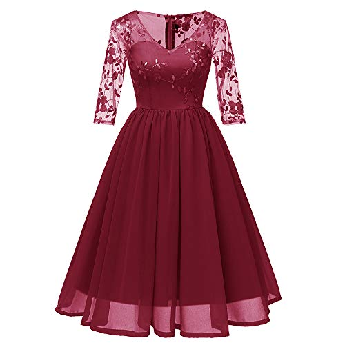 VEMOW A-Linie Swing Cocktailkleid Abendkleid Spitzenkleid Elegant Damen Vintage Party Daily Princess...