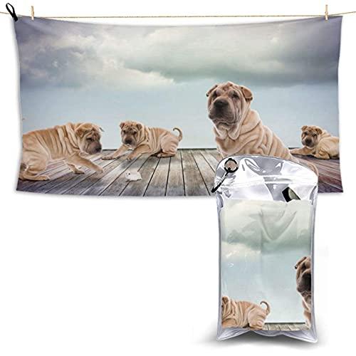 Asciugamani Asciugamano da Bagno Personalizzato Asciugamani da Spiaggia per Adulti Super Morbido Nuoto Spa Asciugamano Doccia Campeggio,Cane Shar Pei