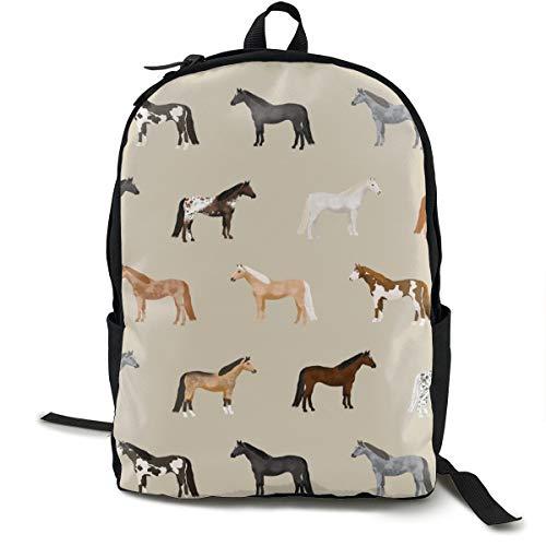 Klassischer Rucksack, Pferdemäntel, Pferderassen, Pferde, hellbraun, lässige Schultasche, große Kapazität, Laptop-Tasche für Teenager, Damen, Herren, Reisen, Wandern