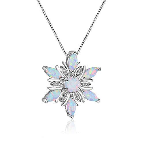 LNLJ Glänzende Kristallschneeflocke Anhänger Und Halsketten, Silberne Halsketten Mit Opal Zirkonia, Geschenke Für Frauen, Winter Schmuck,Weiß