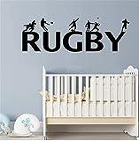 Stickers muraux Rugby pour décoration de chambres d'enfants Sticker mural décor à la maison Amovible Rugby Lettrage Chambre de garçon Vinyle Autocollant 42x130cm
