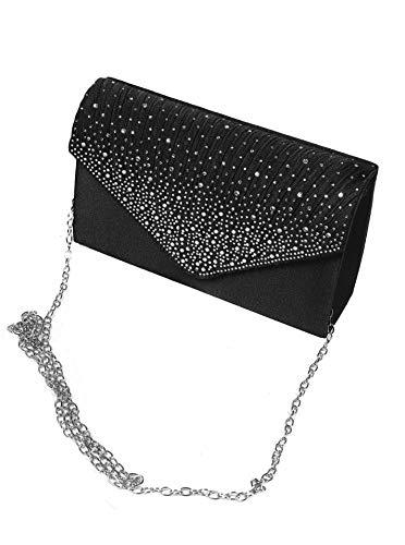 Zwillingsherz Abendtasche - modische Clutch Handtasche für Damen und Mädchen - elegante Kettentasche mit Strass Umhängetasche aus hochwertigem PU Leder - 20 cm x 7,5 cm x 12,5cm