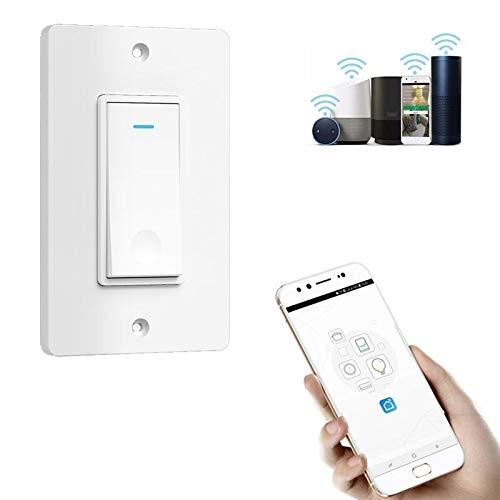 Luoshan 120 Tipo de conexión Wi-Fi Inteligente táctil de Pared Interruptor, Enchufe de los EEUU (Blanco) (Color : White)