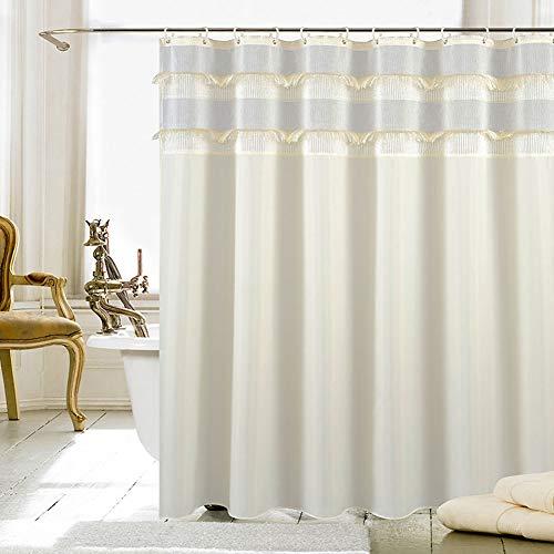 Shower-YJ Duschvorhang Luxus Wasserdicht Anti-Schimmel Waschbarer Badewannenvorhang Badezimmer Gardinen Hochwertige Qualität Polyester Duschvorhänge,beige,180 * 200cm