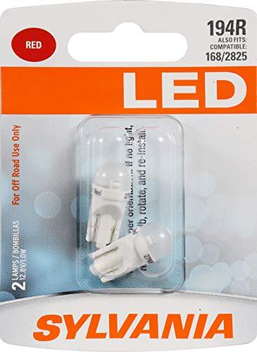 SYLVANIA - 194 T10 W5W LED Red Mini Bulb - Bright LED Bulb, Ideal for...