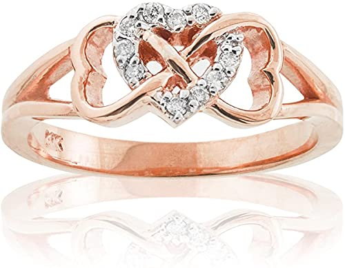 10K Rose Gold 1/15 Cttw Diamond Accented Triple Heart Infinity Celtic Knot Band Engagement Ring (J-K Color, I1-I2 Clarity) - Size 10
