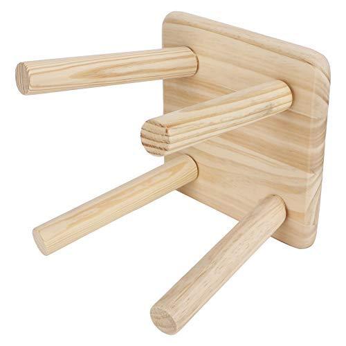Taburete de madera, taburete estable de cuatro pies, fuerte y (taburete cuadrado montado color de madera original)