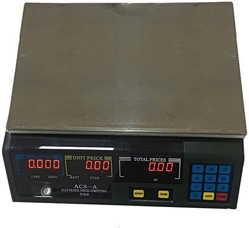 FZYE Cocina electrónica Balanza electrónica de Alta precisión Balanza electrónica de cálculo de Precios de Acero Inoxidable Pesaje con Pantalla LCD para Tiendas minoristas Tienda Cocina