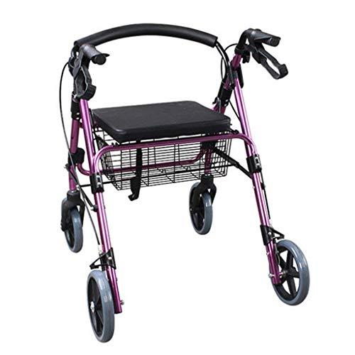 HAOSHUAI Leichter Rollator aus Aluminium, zusammenklappbarer Rollator, Einkaufstrolley, alter 4 Räder, Gehhilfe, rutschfester Gehstock mit Krankenhaus
