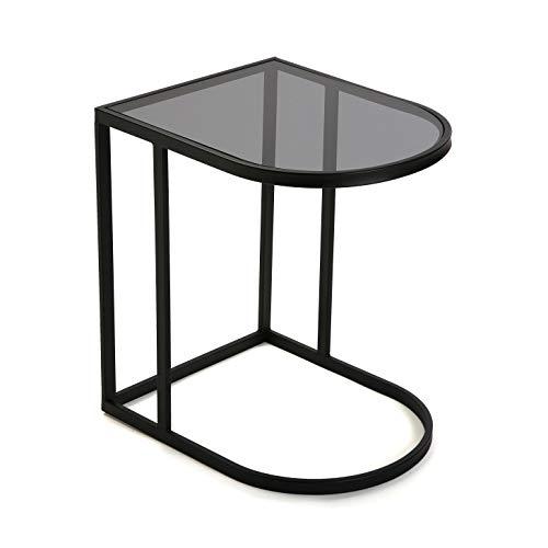 Versa 10850136 bijzettafel van glas en metaal, zwart, 55 x 40 x 50 cm