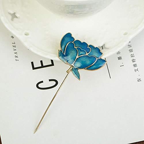 ZWLZQ Broschen Brosche Frauen Lotus Leaf Emaille Nadel Weibliche Kleidung Shirt Brokat Pullover Schal Schnalle Pins Schmuck, Blau