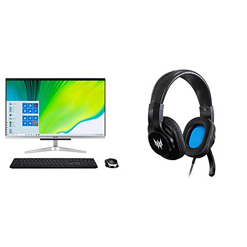 """Acer Aspire C24-963-UA91 AIO Desktop, 23.8"""" Full HD Display, 10th Gen Intel Core i3-1005G1, 8GB DDR4, 512GB NVMe M.2 SSD, 802.11ac Wi-Fi with Gaming Headset"""
