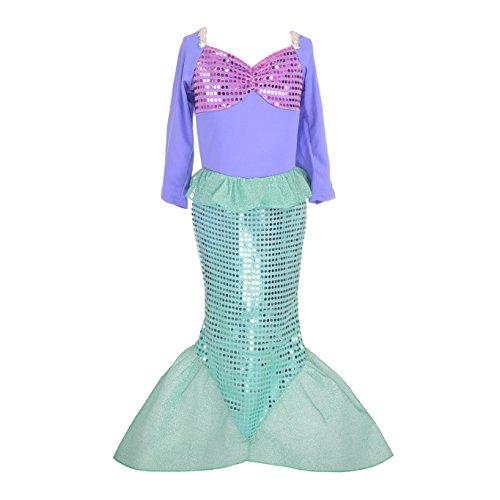 Lito Angels Disfraz Sirenita Princesa Ariel para Niñas, Vestido Sirena de Fiesta de Cumpleaños Talla 5-6 años, Morado