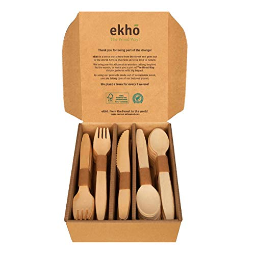 ekhõ The Wood Way! – 100 Cubiertos Desechables Biodegrada