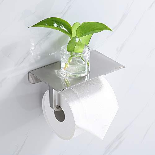 Umi. By Amazon - Toilettenpapierhalter mit Ablage Klopapierhalter mit Regal Papierrollenhalter Edelstahl Matt Wandhalterung Papierhalter für Badezimmer
