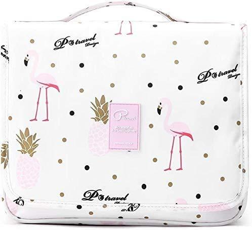 Beauty Case da Viaggio Borsa da Toilette Trucco Cosmetico Portatile Organizzatore Ripiegabile Accesori da Viaggio Bag Organizer Make Up per Donne (Pink Flamingo) - IvyLife