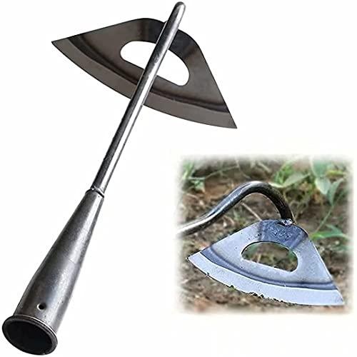 Azada hueca para jardinería, desbrozadora manual de jardín azada hueca endurecida totalmente de acero, herramienta extractora de jardín de hoz de deshierbe manual grande