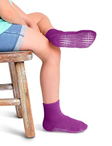 LA Active Athletic Crew Grip Socks - 6 Pairs - Baby Toddler Infant Newborn Kids Boys Girls Non Slip/Anti Skid (Rainbow, 6-12 Months)