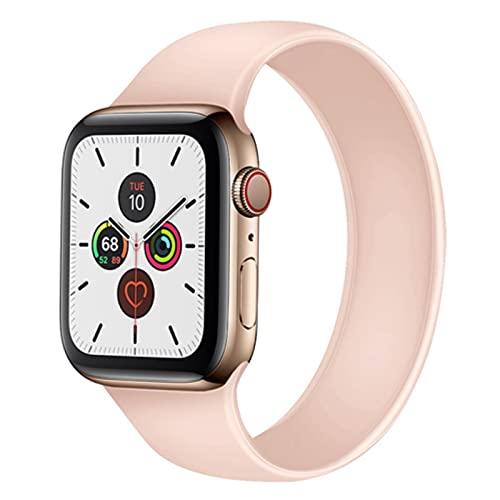 FYWWJ Correa para Apple Watch Band 44mm 40mm iwatch Band 42mm 38mm Apple Watch 6/5/4/3/2/1 44mm Accesorios de pulsera de silicona rosa 42mm-44mm, M