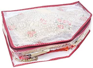 Home Store India Blouse Cover in Transparent Floral Net/Blouse Organizer - Maroon - Pack of 4