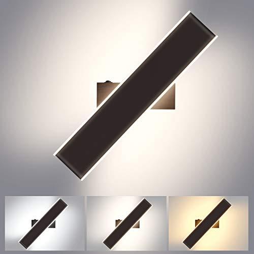 Lightess 18W Apliques Pared Interior LED Regulable 3 Temperatura de Color Lámpara de Pared Moderna Giratoria 350° Luz Incluye Interruptor Iluminación para Dormitorio, Escalera, Color de Negro-Marrón