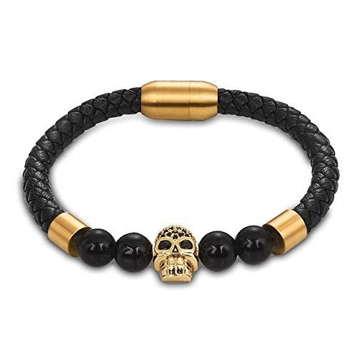 QFJCNZ Armband Naturstein Perlen Armband Einzigartige Panther Perle Leder Armreif Edelstahl Magnetverschlüsse Punk Männerschmuck