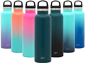 Simple Modern 32oz Ascent Water Bottle - Hydro Vacuum Insulated Tumbler Flask w/Handle Lid - Double Wall Stainless Steel Reusable - Leakproof -Riptide