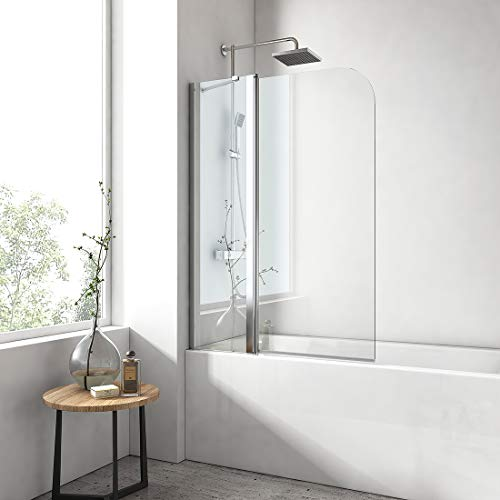 EMKE 100x140cm Badewanne Duschwand schwingen mit fester Verkleidung mit NANO einfach-Reinigung Beschichtung Faltwand 6mm Sicherheitsglas