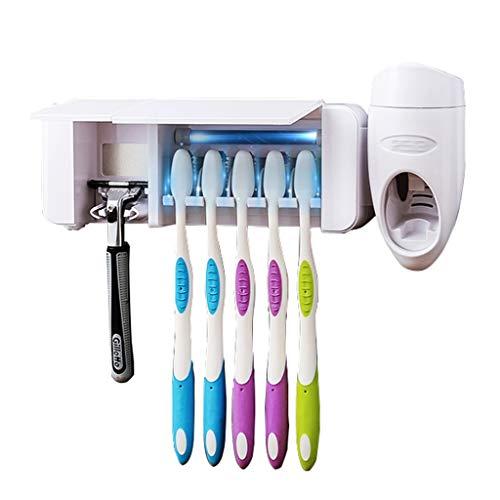 Porta cepillo de dientes Cepillo de dientes desinfectante con función de esterilización, montado en la pared del diente UV Portaescobillas for baño, pasta de dientes automático dispensador con 5 cepil