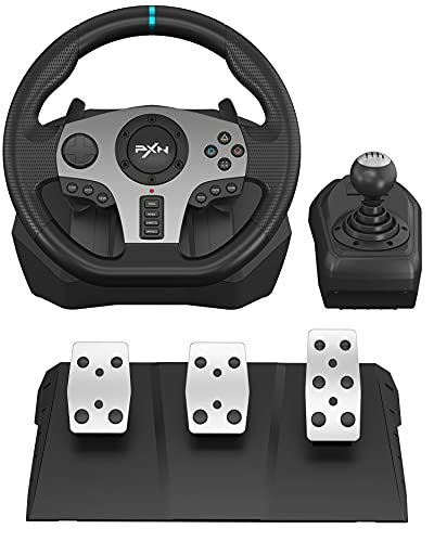 PXN V9 Gaming Racing Wheel with Pedals and Shifter, Steering Wheel for PC, Xbox One, Xbox Series X/S, PS4, PS3 and Nintendo Switch