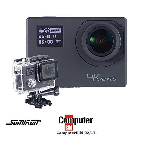 Somikon Actioncam 4K: 4K-Action-Cam für UHD-Videos, 2 Displays, WLAN, 16MP-Sony-Sensor IP68 (Motorrad Kamera)