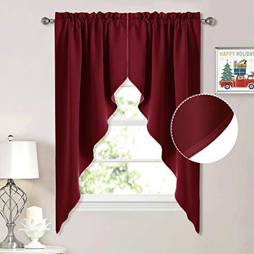 NICETOWN Blackout Pole Pocket Kitchen Tier Curtains- Tailored Scalloped Valance/Swags for Basement (1 Set, 72 inches Wide Combined, 63 inches Long, Burgundy Red)