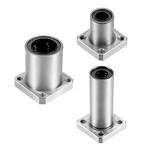 DealMux LMK6UU Linearkugellager mit quadratischem Flansch, 6 mm Bohrungsdurchmesser, 12 mm Außendurchmesser, 19 mm Länge, 2er-Pack