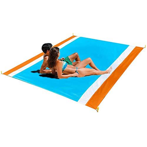 carinacoco Strandmatte XXL Strandmatte Sandfreie Picknickdecke Wasserdicht, Picknickdecke Groß Ultraleicht Waschbar Faltbar Strand Matte Liegematte Strand Sandfreie Decke (250x200CM)