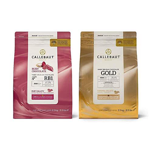 Callebaut Belgische Schokolade Callets Bündeln Rubin und Gold Karamell 2 x 2.5Kg