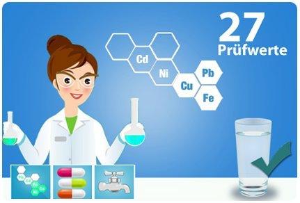 Trinkwassertest ECO - Wasseranalyse für Trinkwasser auf 27 Testwerte | 1 Wasserprobe