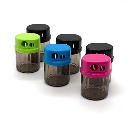 Emraw Dual Blades Sharpener w/Round Receptacle to Catch Shavings for Regular & Oversize Pencils and Crayons in Blue, Green, Pink & Black Great for School Home & Office (6 Pack)
